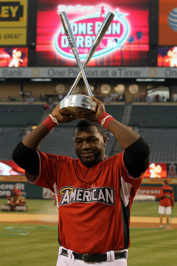 American League All-Star David Ortiz of the Boston Red Sox winner of the 2010 State Farm Home Run Derby during All-Star Weekend at Angel Stadium of Anaheim on July 12, 2010 in Anaheim, California.