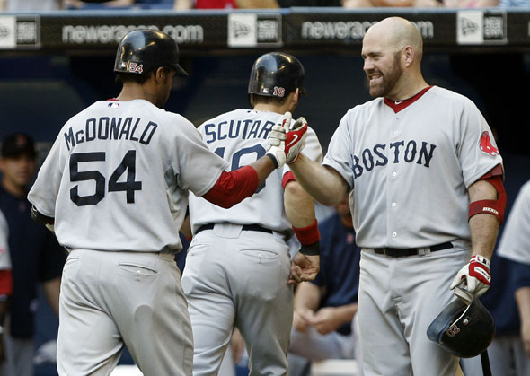 Darnell McDonald, Marco Scutaro and Kevin Youkilis of the Boston Red Sox celebrate Darnell McDonald's two-run home run during the game against the Toronto Blue Jays at the Rogers Centre on July 11, 2010 in Toronto, Ontario, Canada.