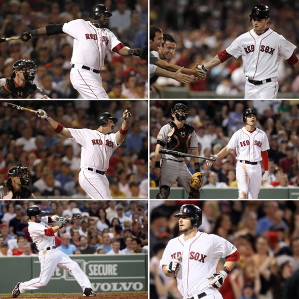 Red Sox belted six homers vs. the Orioles