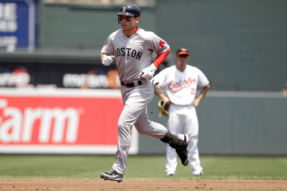 Jacoby Ellsbury of the Boston Red Sox rounds the bases after hitting a solo home run during the third inning at Oriole Park at Camden Yards on July 20, 2011 in Baltimore, Maryland