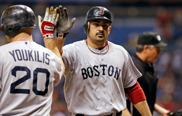 Infielder Adrian Gonzalez of the Boston Red Sox celebrates his ninth inning home run against the Tampa Bay Rays during the game at Tropicana Field on June 16, 2011 in St. Petersburg, Florida.