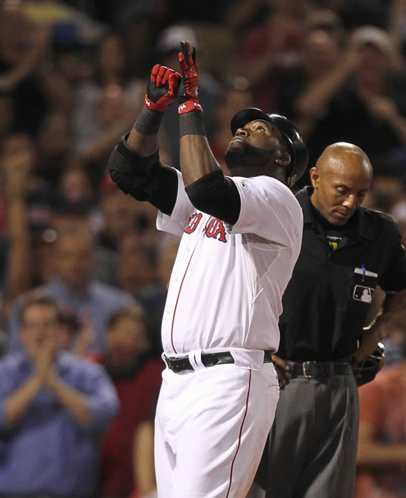 David Ortiz celebrates a 2 run home run