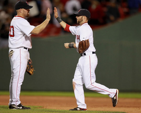 Kevin Youkilis (cq) left and his teammate Dustin Pedroia (cq) right celebrate their teams win. The Boston Red Sox
