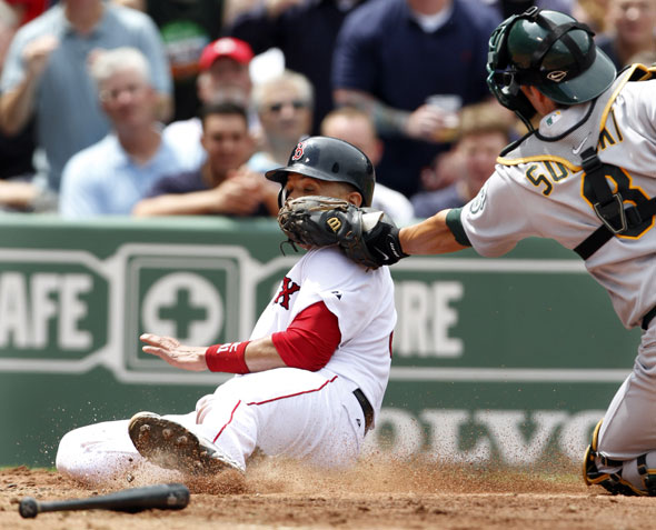 Victor Martinez, left, is out at home while attempting to score on a double hit by Red Sox's Kevin Youkilis as Oakland Athletics' catcher Kurt Suzuki, right, makes the play in the third inning of a baseball game at Boston's Fenway Park, Thursday, June 3, 2010.