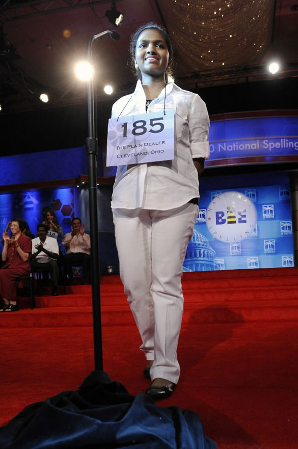 Anamika Veeramani of New Royalton, Ohio, wins the 2010 National Spelling Bee in Washington, June 4, 2010.