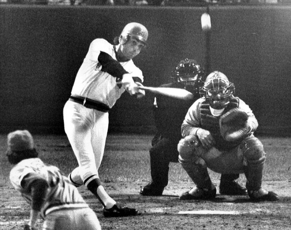 10/21/1975  Bernie Carbo, Boston pinch hitter, belts a home run into the center field seats to drive in two and tie the sixth game of the World Series in the eighth inning. Pitcher is Rawley Eastwick for the Reds; catcher is Johnny Bench and umpire is Dave Davidson.