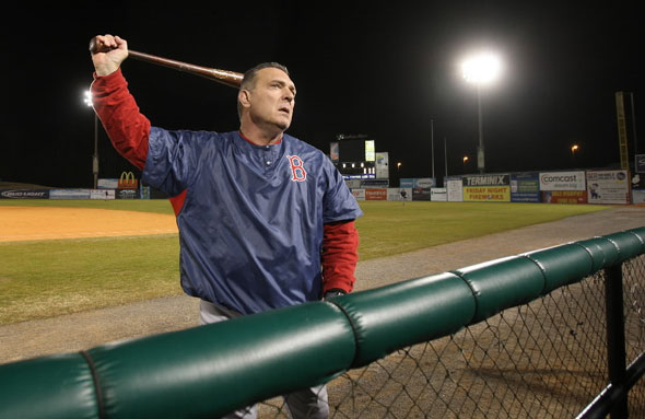 MOBILE, ALABAMA- February, 27, 2010:  Former Red Sox  Bernie Carbo started the Diamond Club Ministry to worship Jesus Christ. He recently ran a baseball fantasy camp at Hank Aaron Stadium to mix baseball and religion. Here he loosens up before an at bat.