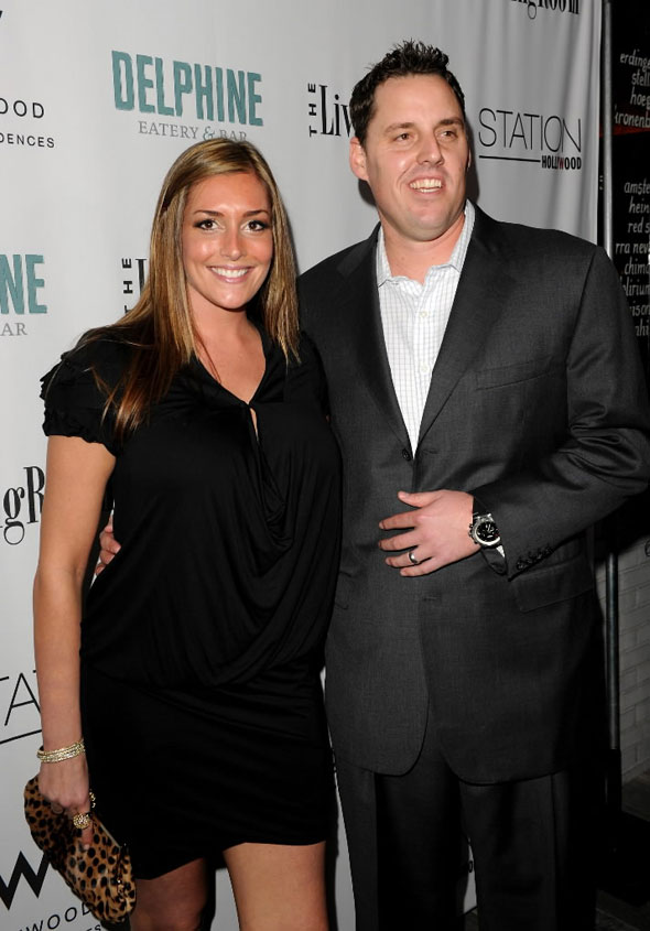 John Lackey (R) and wife Krista arrive at the grand opening party for Delphine restaurant at the W Hollywood Hotel & Residences on February 11, 2010 in Hollywood, California.