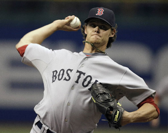 Clay Buchholz delivers a first inning pitch to the Tampa Bay Rays