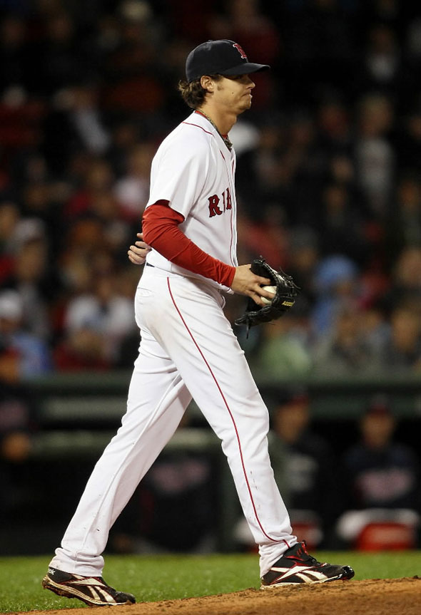 Clay Buchholz reacts before he is pulled from the game in the top of the ninth inning against the Minnesota Twins on May 19, 2010 at Fenway Park