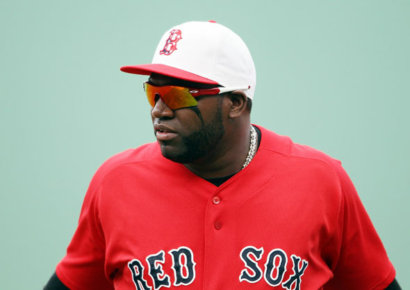 David Ortiz  and the rest of the Boston Red Sox wears a special edition hat in honor of Memorial Day during the game against the Kansas City Royals on May 30, 2010