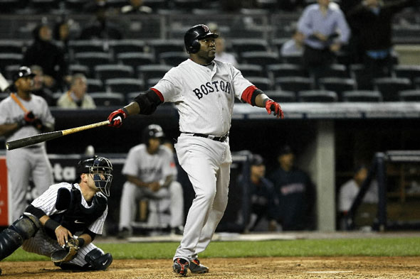 David Ortiz tied it with a single off the right-center fence but paused to admire his shot, thinking it was gone. He was thrown out at second by center fielder Brett Gardner's strong throw.