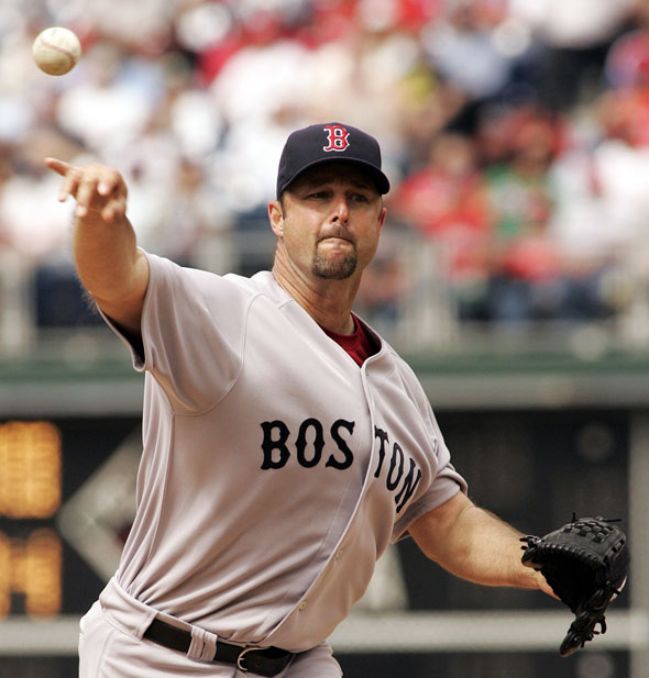 Red Sox starting pitcher Tim Wakefield works against the Philadelphia Phillies during an interleague baseball game Sunday, May 23, 2010, in Philadelphia. Wakefield pitched eight shutout innings for his first victory in nearly a year  The Red Sox won 8-3.