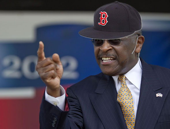 Radio host and former Godfather's Pizza CEO Herman Cain announces his bid for the 2012 Red Sox managerial nomination Oct. 27