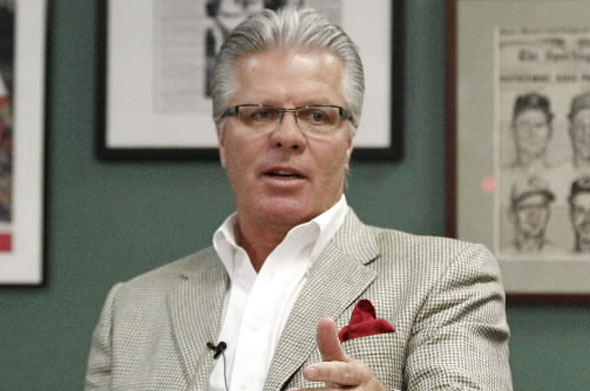 Philadelphia Phillies bench coach Pete Mackanin was the first candidate to be interviewed by the Boston Red Sox for their team's vacant manager's position. He met with the media in a workroom behind the press box at Fenway Park