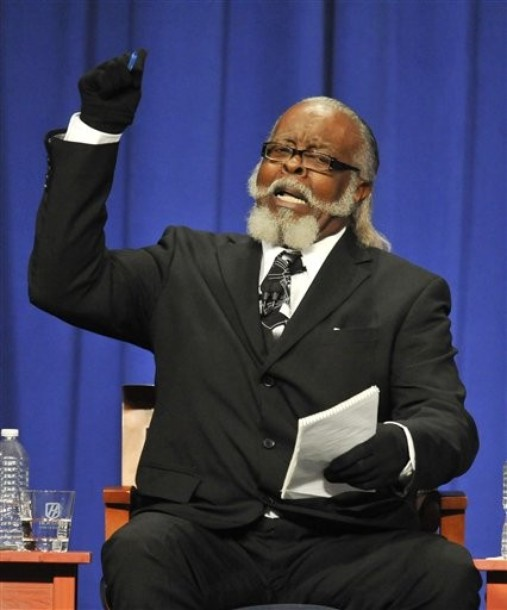 Jimmy McMillan, candidate for Rent is 2 Damn High party makes a point during the 2010 New York State Gubernatorial debate held at Hoftstra University in Hempstead, N.Y. on Monday, Oct. 18, 2010.