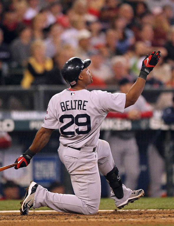 Adrian Beltre of the Red Sox watches his home run in the fourth inning against the Seattle Mariners at Safeco Field on September 15, 2010 in Seattle, Washington.