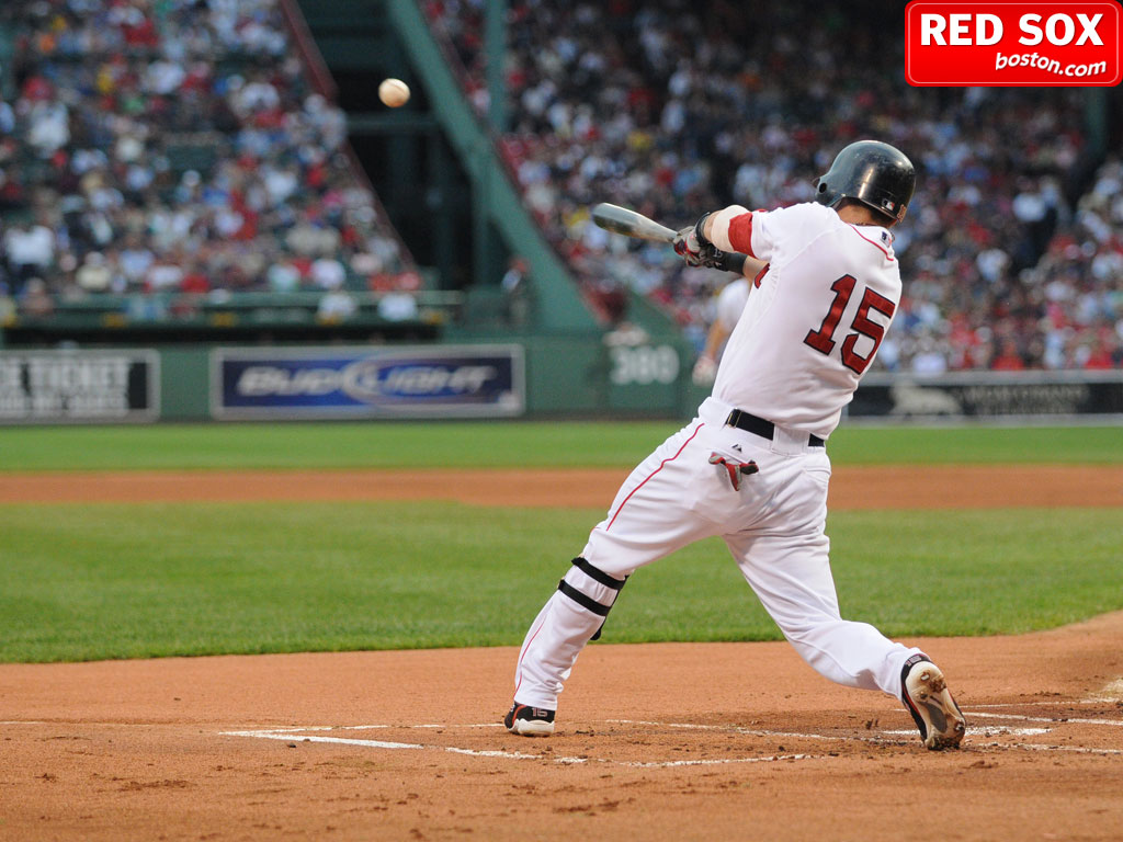 Red Sox second baseman Dustin Pedroia tees off against the Texas Rangers.