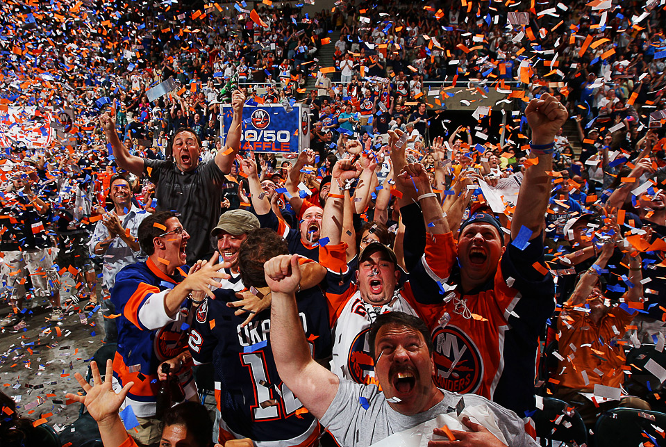 Sports fans cheering