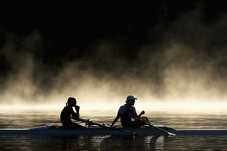 Womens double scull pair Paula Twining (left) and Anna Reymer take a rest during the Rowing New Zealand elite squad training session at Lake Karapiro June 3 in Cambridge, New Zealand. (