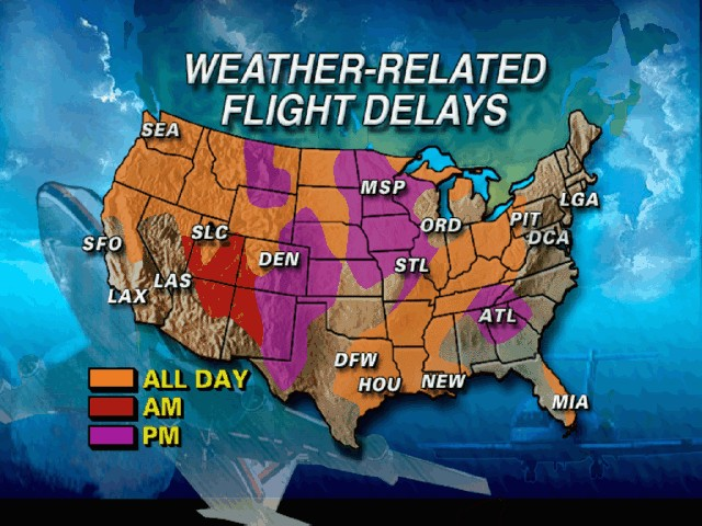 Weather delays at us airports