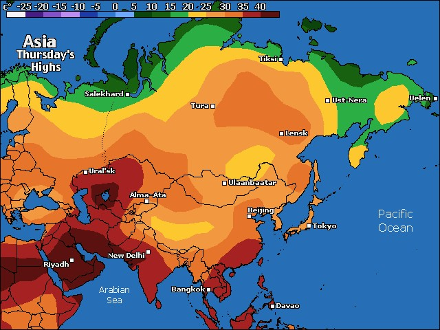 Asia high temperature forecast for today