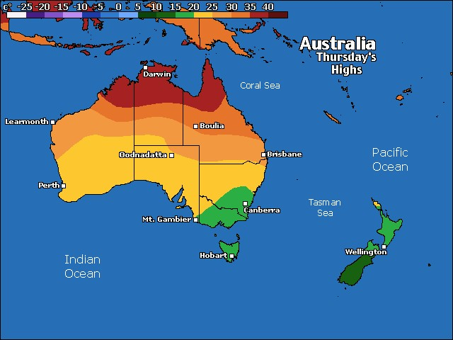 Oceania high temps