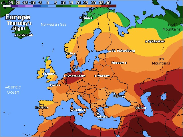 Europe high temperature forecast for today