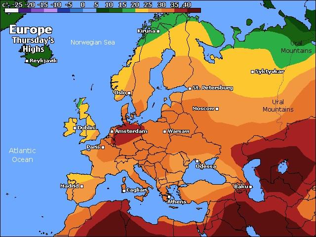 Europe high temps