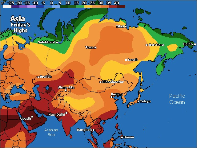 Asia high temperature forecast for tomorrow