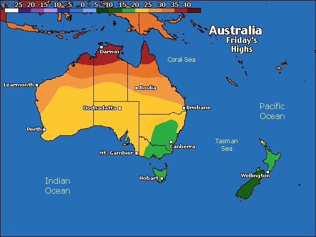 Australia / Oceania high temperature forecast for tomorrow