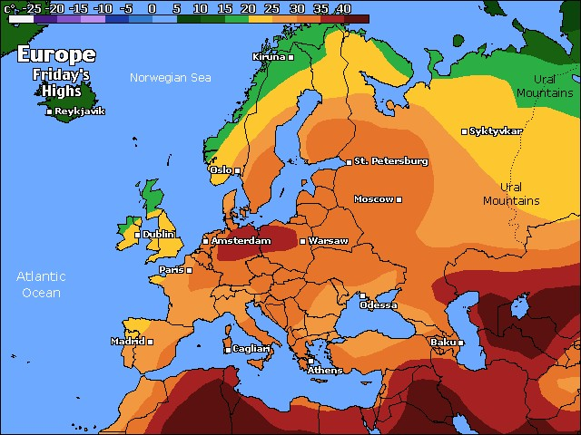 Europe high temperature forecast for tomorrow