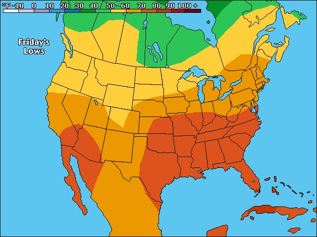 Tomorrow's US low temperature forecast