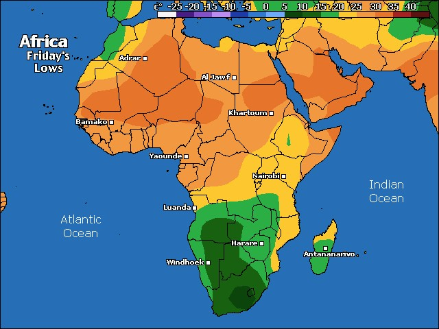 Tomorrow's Africa low temperature forecast