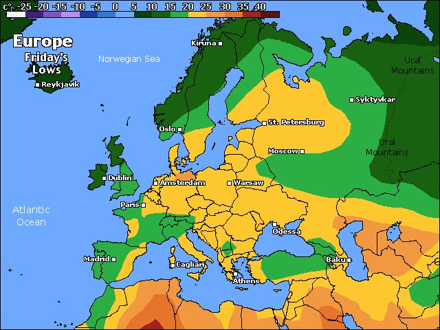 Tomorrow's Europe low temperature forecast
