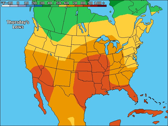 Tonight's US low temperature forecast
