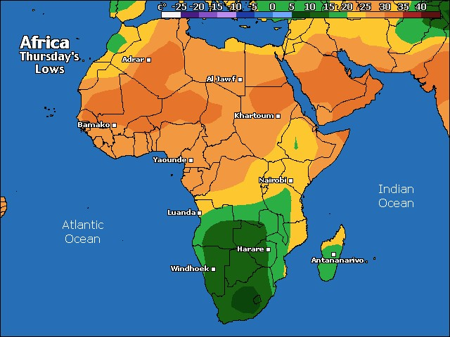 Africa low temps