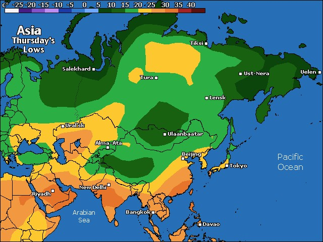 Tonight's Asia low temperature forecast