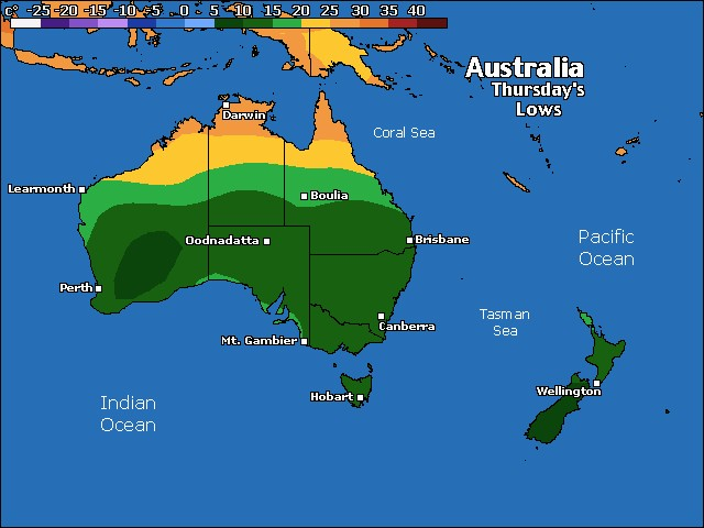 Tonight's Australia / Oceania low temperature forecast