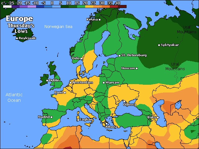 Europe low temps