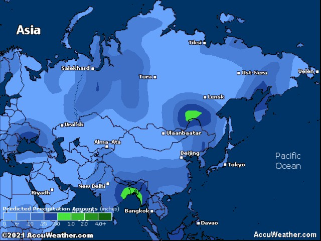 Asia precipitation forecast for today