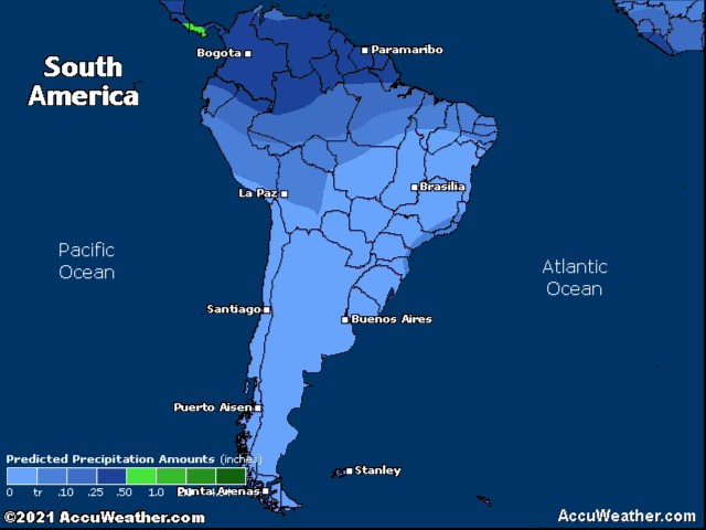 South America precipitation forecast for today
