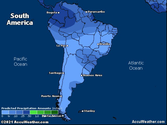 South America precipitation forecast for tomorrow