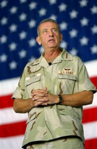 Gen. Tommy Franks, 57, speaks at a ceremony marking the one-year anniversary of Operation Enduring Freedom in this Oct. 7, 2002, file photo at at MacDill Air Force Base, Fla. Those who count the increasing number of American soldiers killed in Iraq are missing the bigger picture, retired Gen. Tommy Franks said Saturday night May 20, 2006. 'What we're talking about is neither 2,400, 24,000 or 240,000 lives,' Franks said at the National Rifle Association's annual banquet. 'Terrorism is a thing that threatens our way of life. It doesn't have anything to do with politics.'