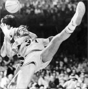 Los Angeles Laker Kurt Rambis (31) is collared by Boston's Kevin McHale in the 1984 NBA Finals.