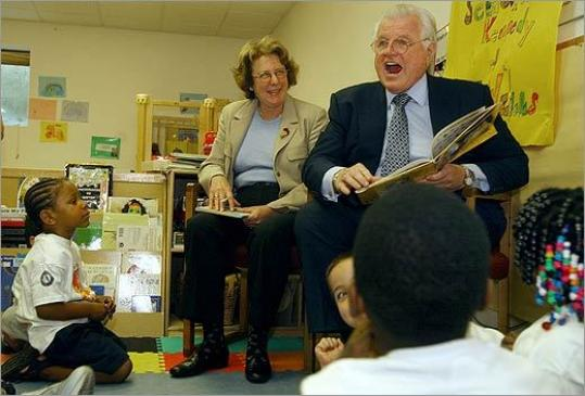 Senator Edward M. Kennedy reads to children at a Head Start program, which provides early education instruction, at the Head Start Center in Boston in June of 2003.