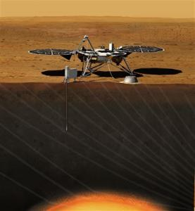 This image provided by NASA shows an artist rendition of the proposed InSight (Interior exploration using Seismic Investigations, Geodesy and Heat Transport) Lander. After driving all around Mars with four rovers, NASA wants to look deep into the guts of the red planet. The space agency decided Monday, Aug. 20, 2012, to launch a relatively low-cost robotic lander in 2016 to check out what makes the Martian core so different from Earth's. NASA's Discovery program picked a project called Insight over missions to a Saturn moon and a comet, drawing complaints from scientists who study other places in our solar system that NASA is too focused on Mars.