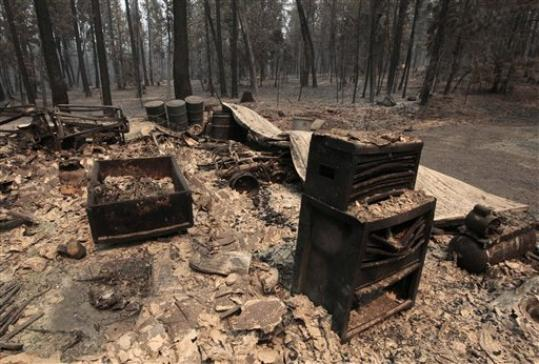 The charred remains of an outbuilding destroyed by the Ponderosa fire are seen near Manton, Calif., Monday, Aug. 20, 2012. More than 1,400 fire fighters are battling the fire that has destroyed seven homes, burned 23 square miles. The fire that started Saturday is just 5 percent contained.
