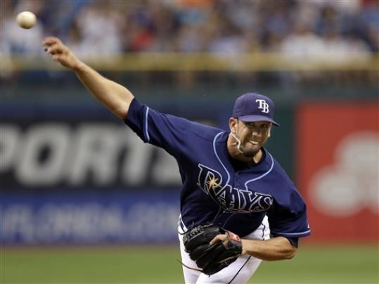 Tampa Bay Rays starting pitcher James Shields delivers to the New York Yankees during the first inning of a baseball game Monday, Sept. 3, 2012, in St. Petersburg, Fla.