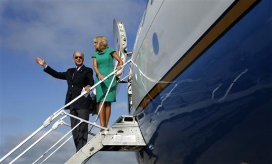 Vice President Joe Biden and his wife Jill Biden board Air Force Two at North Carolina Air National Guard, Friday, Sept. 7, 2012, in Charlotte, N.C., en route to New Hampshire.